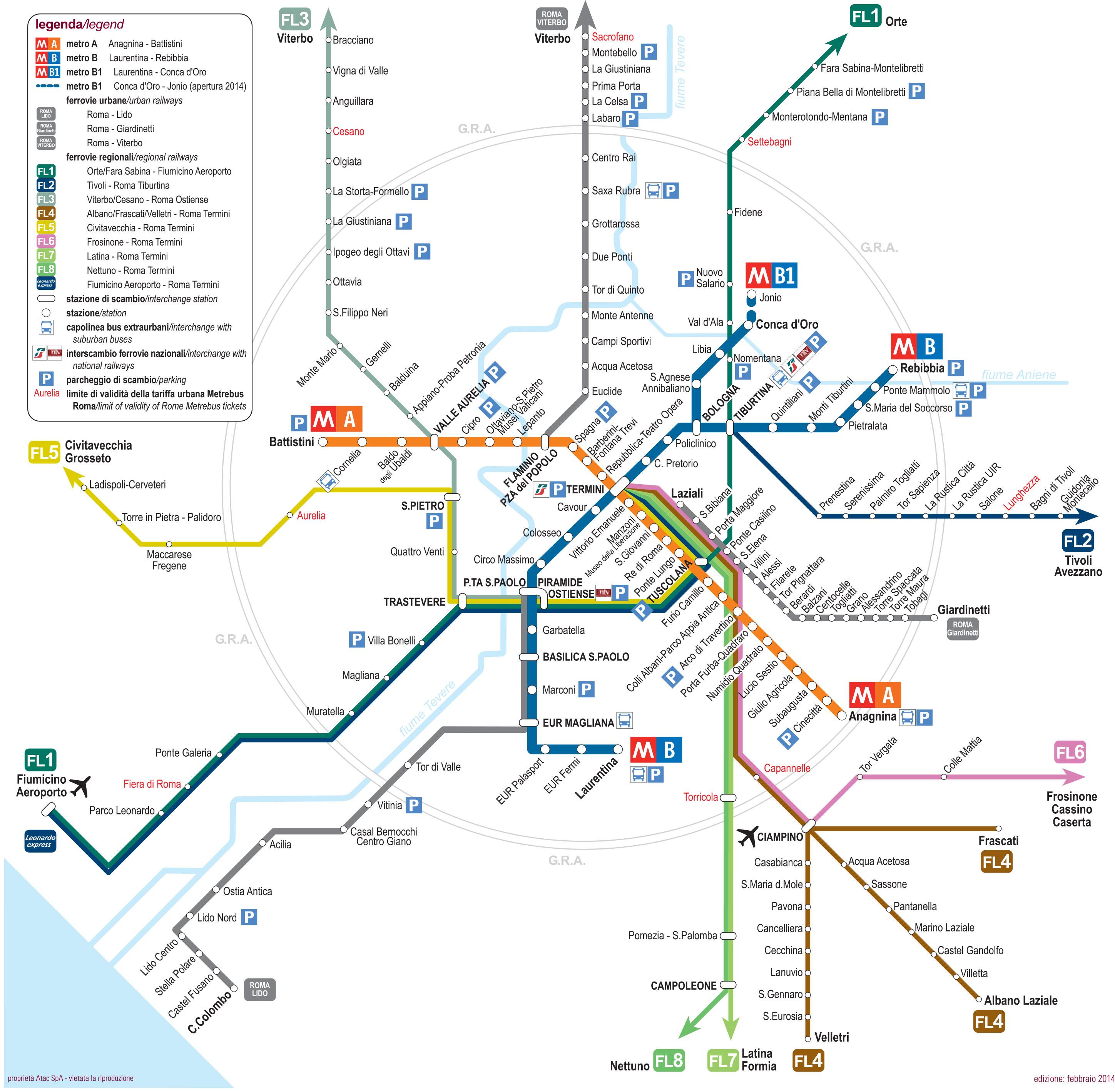 Róma tömegközlekedés 2018