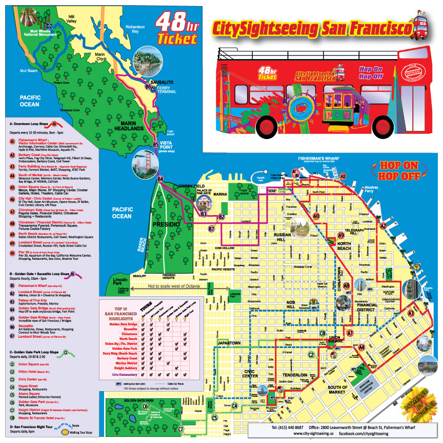 San Francisco Map Tour Images Maps Update Tourist - San francisco sightseeing map